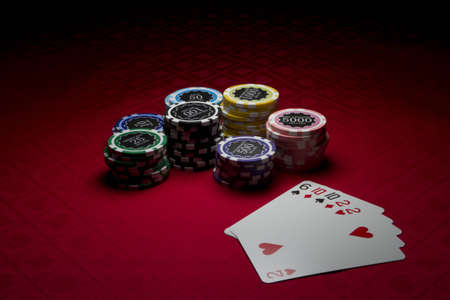 Stacks of poker chips with two pairs