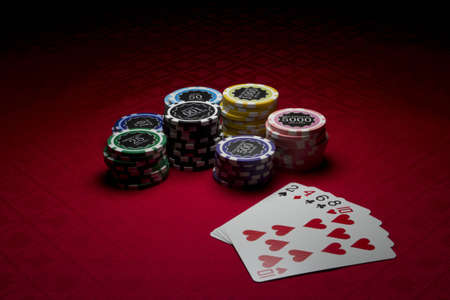 Poker chips and high card Stok Fotoğraf