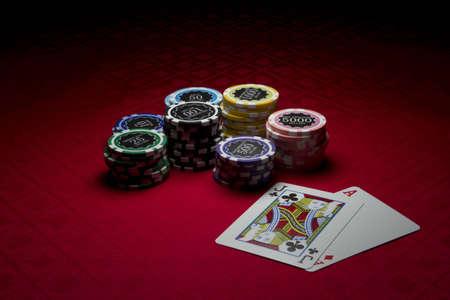 Poker chips and black jack