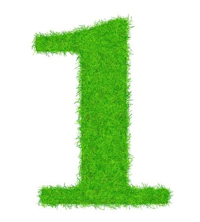 brightly: The number of 1 is decorated brightly a green grass. Stock Photo