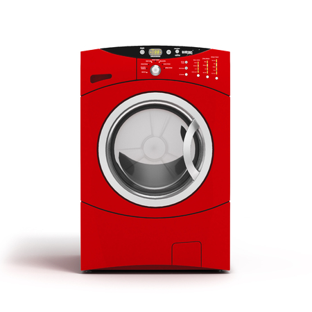 revolve: Washing machine on white background. 3D illustration.