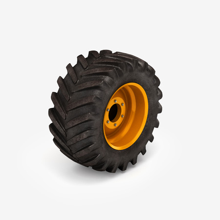 traction: Off-road wheel isolated on white background. 3D illustration.