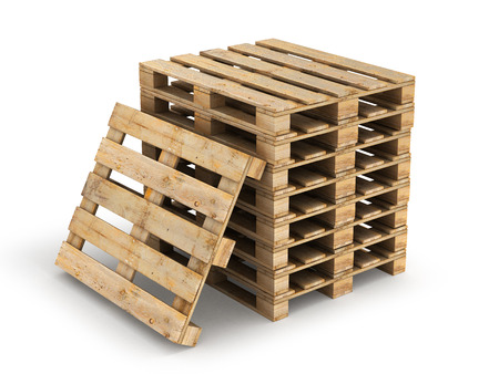 work crate: Wooden pallets. Isolated on white.3D illustration.