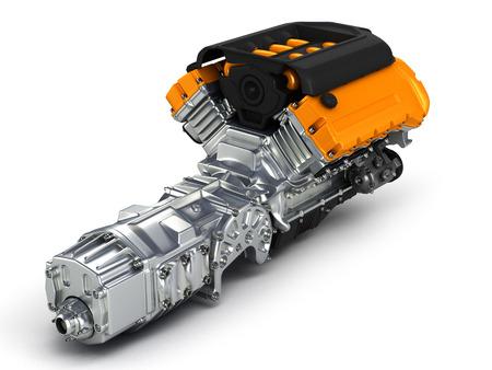 fuel rod: Automotive engine gearbox assembly. 3D illustration.