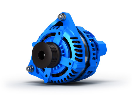 alternator: Car alternator isolated on a white background. 3D illustration.