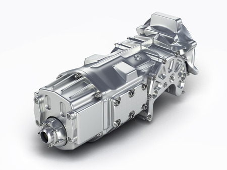 Car Transmission: car gearbox isolated on a white background. 3D illustration.