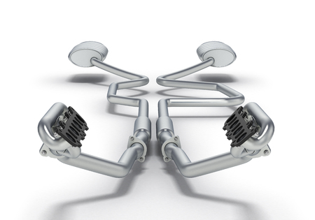 Exhaust pipes system isolated on white background. 3D illustration. Stock Photo