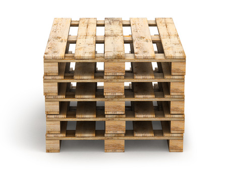 work crate: Wooden pallets. Isolated on white. 3D illustration.