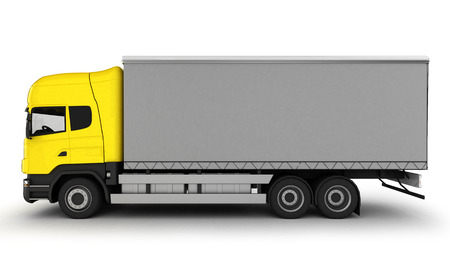 light duty: Yellow delivery truck on a white background. 3D illustration.