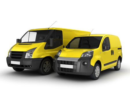 Yellow delivery van and car on a white background. 3D illustration. Stock Photo