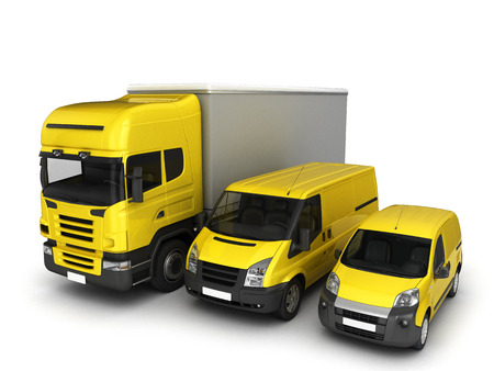 Yellow delivery cars on a white background.3D illustration. Stock Photo