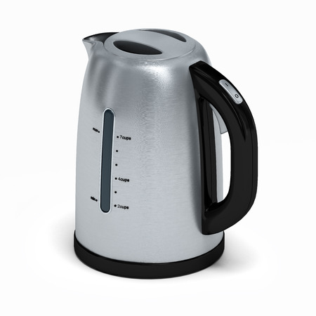 electric kettle: Stainless electric kettle isolated on white.3D illustration.