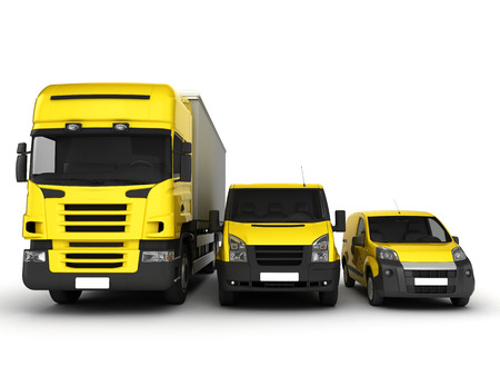 hauling: Yellow delivery cars on a white background.3D illustration. Stock Photo