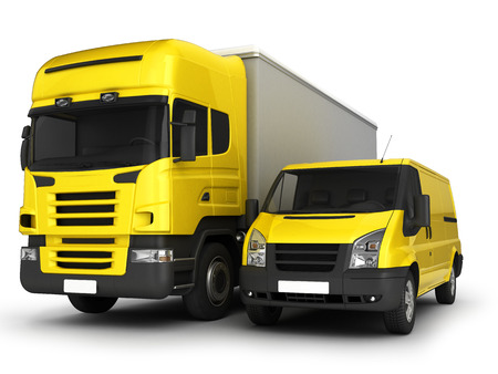 hauler: Yellow delivery van and truck on a white background.3D illustration.