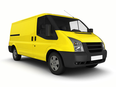 haul: Yellow delivery van on a white background.3D illustration.
