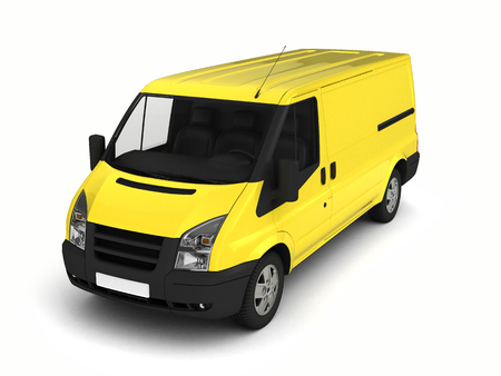 hauler: Yellow delivery van on a white background.3D illustration.