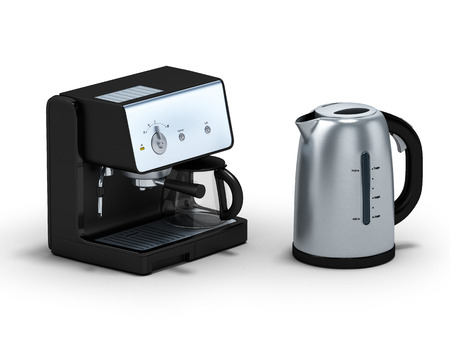 electric kettle: Electric kettle with coffee maker isolated on white.3D illustration.