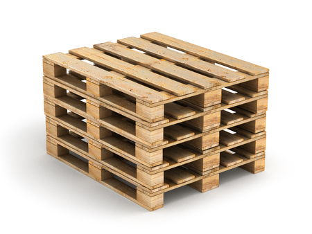 work crate: Wooden pallet. Isolated on white.3D illustration. Stock Photo