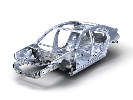 body auto op een witte achtergrond 3D Stockfoto