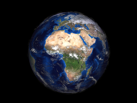 earth from space: planet earth on black background view from space 3d