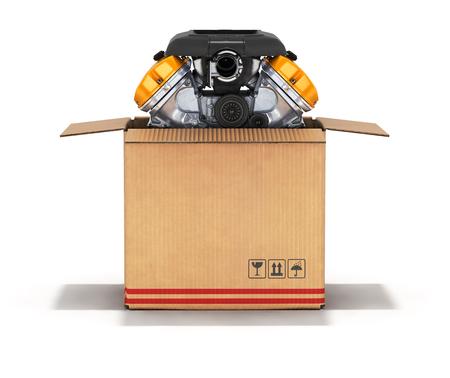 package sending: Engine in a cardboard box 3d