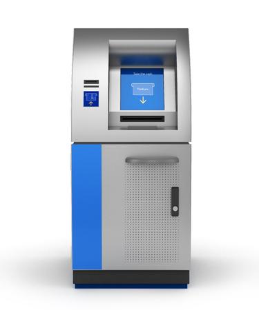 ATM Bank Cash Machine Isolated on white 3d 版權商用圖片
