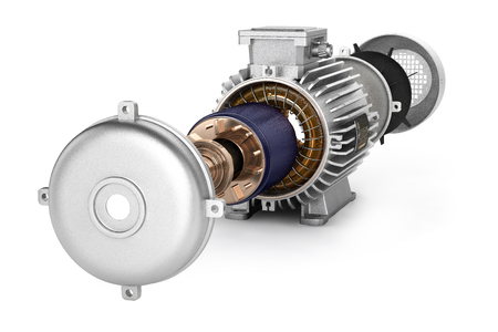 Electric motor in detail on white background 3d