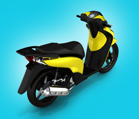quickness: Trendy yellow scooter on blue gradient background 3d Stock Photo