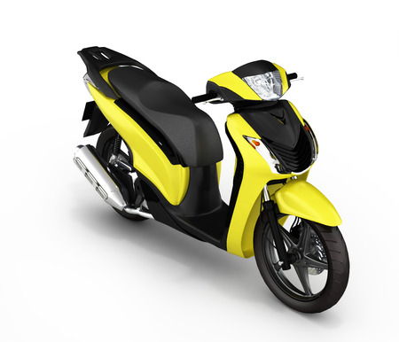quickness: Trendy yellow scooter on white background 3d Stock Photo