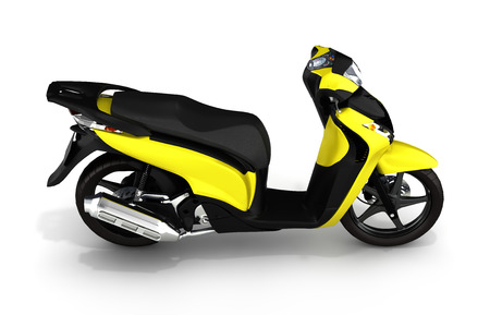afflatus: Trendy yellow scooter on white background 3d Stock Photo