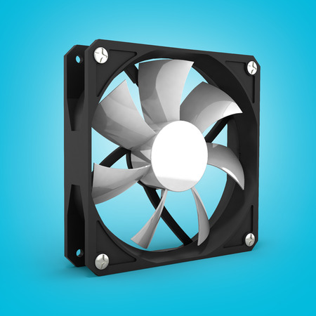 airflow: computer cooler on gradient background 3d Stock Photo