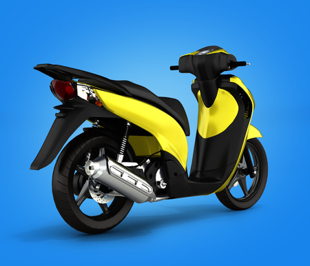 afflatus: Trendy yellow scooter on gradient background 3d