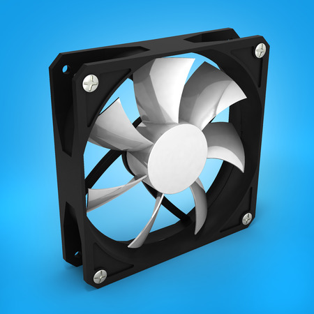 heat sink: computer cooler isolated on blue gradient background 3d render