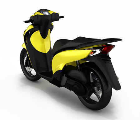 quickness: Trendy yellow scooter on white background 3d render Stock Photo