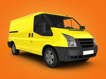 hauler: Yellow delivery van on orange gradient background 3d render