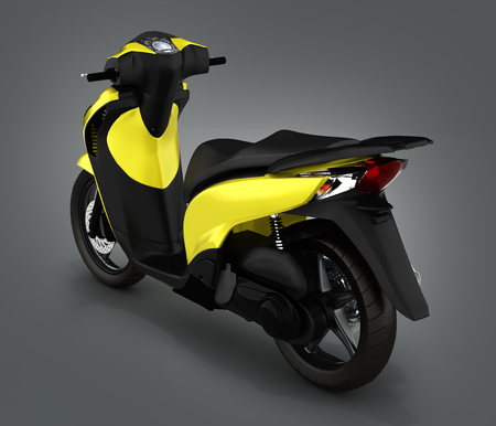 quickness: Trendy yellow scooter on gray gradient background 3d render Stock Photo