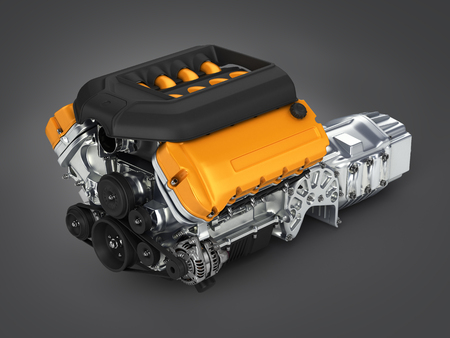 Automotive engine gearbox assembly on gradient background 3d illustration