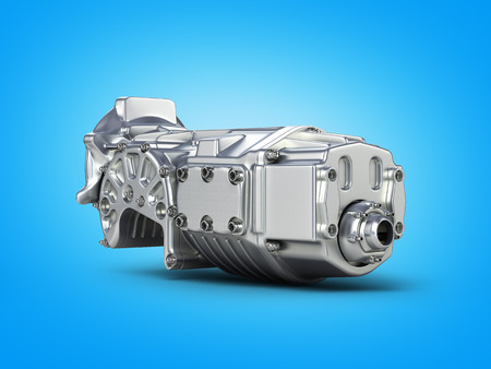Car gearbox on blue gradient background.3D render. Stock Photo