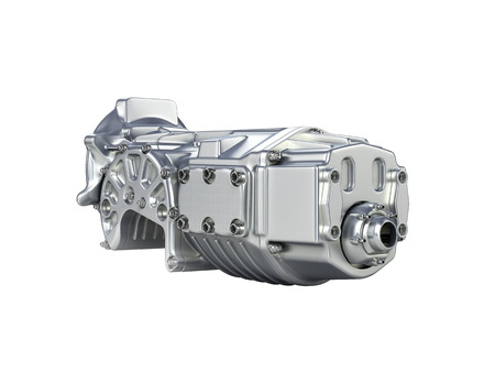 Car Transmission: Car gearbox without shadow on white gradient background.3D render. Stock Photo