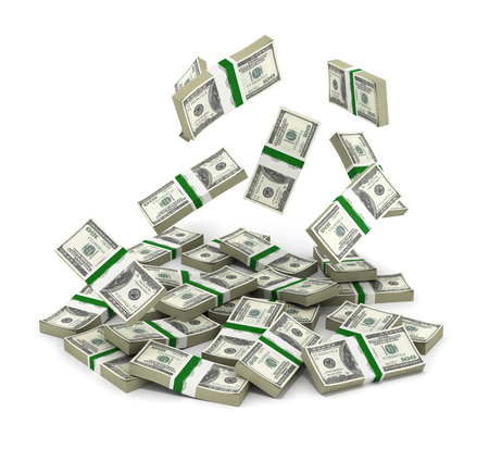 hundreds and thousands: pile of money american dollar bills on white background 3d render Stock Photo