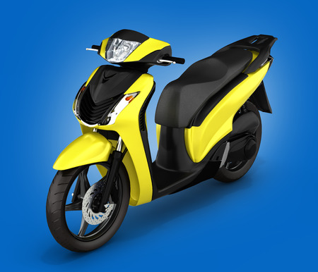quickness: yellow scooter on blue gradient background 3d illustration