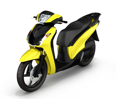 quickness: yellow scooter on white background 3d illustration Stock Photo