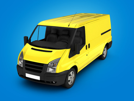 hauler: Yellow delivery van on gradient background 3d illustration