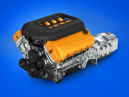 Automotive engine gearbox assembly on blue gradient background 3d