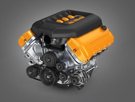 fuel rod: Automotive engine on grey gradient background 3d render