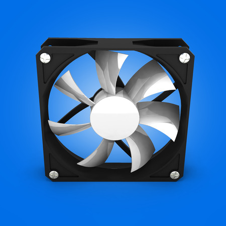 heat sink: computer cooler isolated on blue gradient background 3d