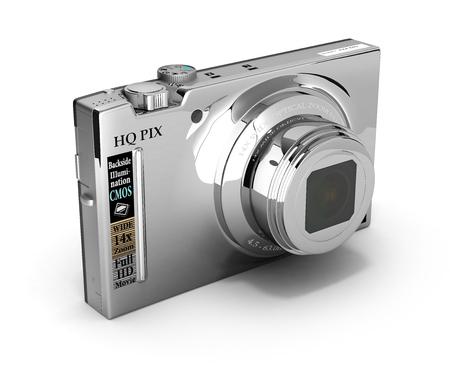 digital photo: digital photo camera isolated on white background 3d illustration Stock Photo