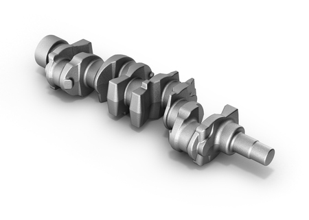 engine crankshaft on white 3d render Stock Photo