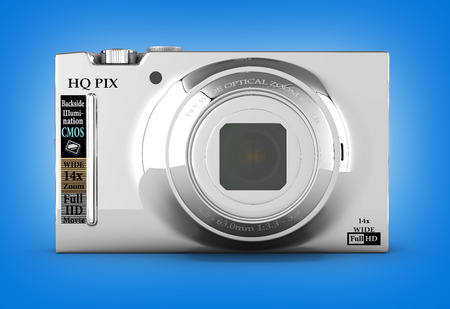 digital photo: digital photo camera isolated on gradient background 3d render