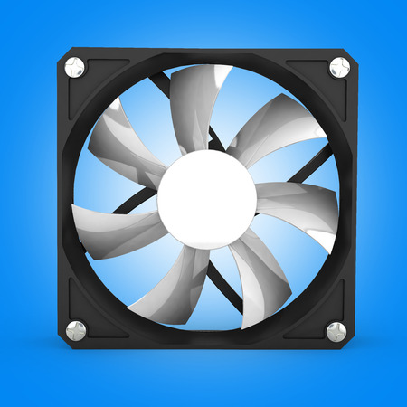 heat sink: computer cooler isolated on blue gradient background 3d illustration